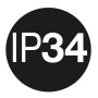 IP 34: Protection against ingress of foreign solid objects ≥ 2,5 mm Ø; against water splashing.